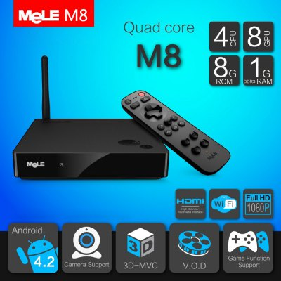 MeLE M8 1GB RAM 8GB ROM Quad Core Android 4.2 4K WiFi TV Box Support HDMI AV Input