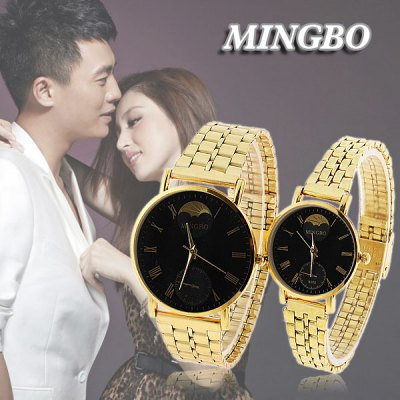 Valentine Cheap Mingbo Steel Quartz Watches for Couple with Black Round Dial in Fashion Design - Golden