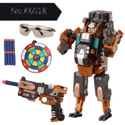 No.K6018 Super Cool The Armoured X - men Deformation Shooting Gun Assembly Transformers Robot Pistol Toy with Soft EVA Bullet Ne