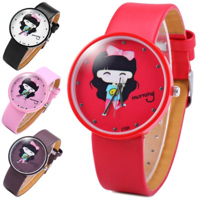 Quartz Watch Cartoon Girl Round Dial Leather Band for Children