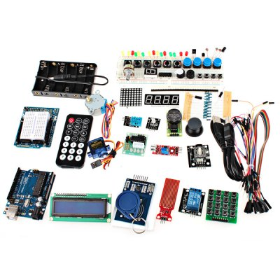 XDRduino UNO R3 Board RFID Stepper Motor Development Board Starter Kit with Basic Component Pack Set for Arduino Workshop Beginn