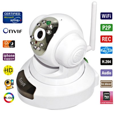 EasyN H3 - 186V CMOS 1.0MP IR Night Vision Wireless IP Camera 3.6mm Lens Cam, Support iPhone and Android Phone Connecting (White