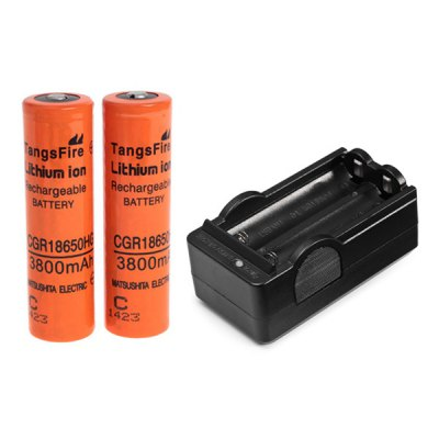 TangsFire 18650 3.7V 3800mAh Li-ion Rechargeable Battery with Charger - 2-Pack, Orange, without Protection Board