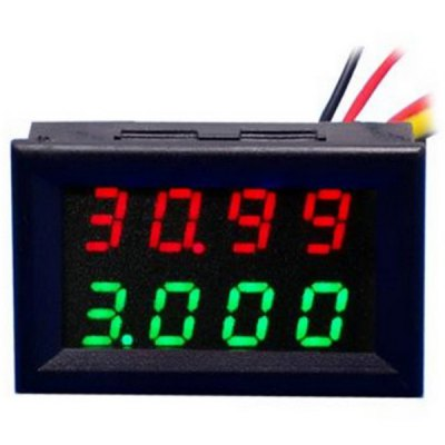 Jtron Practical Dual 0.28 inch 4 Digit Red Green LED Display Voltage Current Meter ( DC 0  -  33V / 0  -  999.9mA  -  3A )