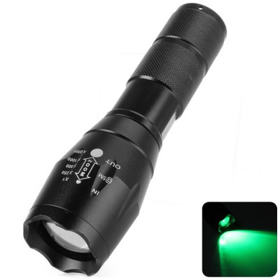 UltraFire A100 CREE Q5 Green Light Water Resistant Zoomable LED Torch  -  517  -  525nm 5 Modes 1 x 18650 or 3 x AAA Battery