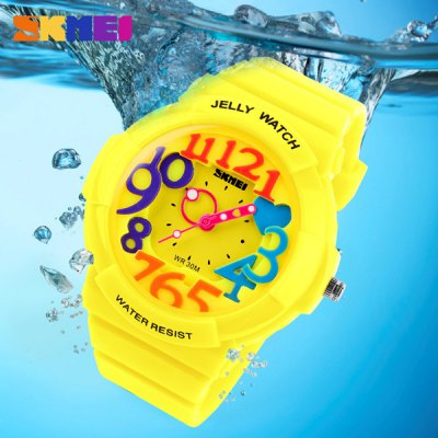 Skmei 1042 Children Stereo Scale Quartz Watch Water Resistant Rubber Band Round Dial