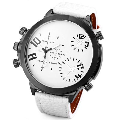 Oulm Delicate Men Wrist Watch Analog with Big Round Dial Leather Watch Band