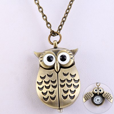 Flip Quartz Watch Pocket Watch Owl Shape
