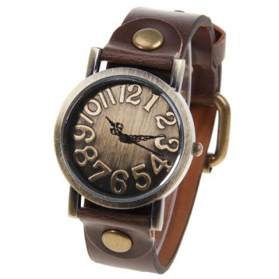 Quartz Watch with Numbers Round Dial Leather Watchband for Unisex (Brown)
