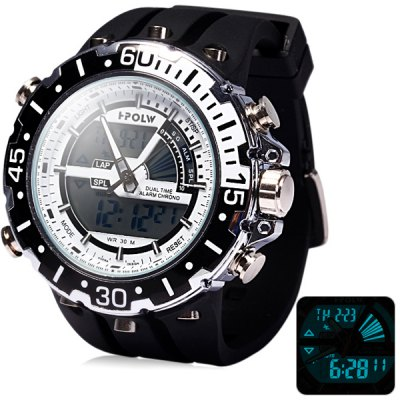 Hpolw 601 LED Watch Japan Movt Double Time Alarm Week Date 3ATM Water Resistant