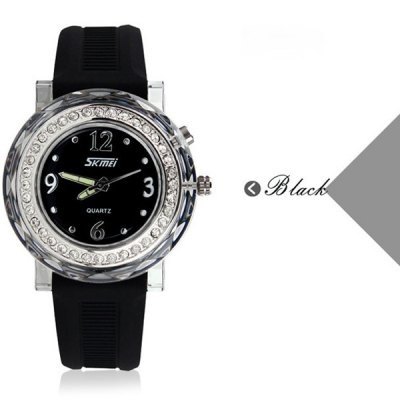 Skmei 0995 Quartz Watch Diamond Light Water Resistant Rubber Strap for Children