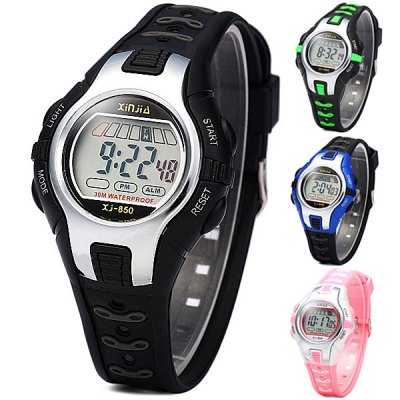 Xinjia 850 LED Sports Watch 30M Water Resistant Alarm Week for Children