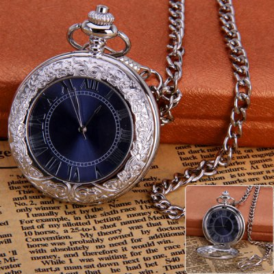 Round Shape Design Roman Numbers Indicate Vintage Mechanical Flip Pocket Watch