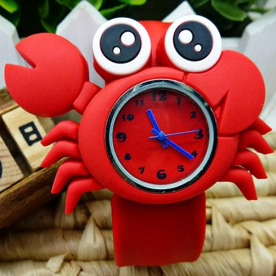 Crab Patterned Life Waterproof Children Pat Watch with Silica Gel Band