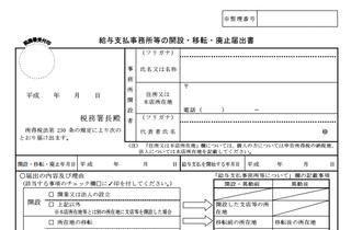 従業員に給与を払う場合:給与支払事務所等の開設・移転・廃止届出書の画像