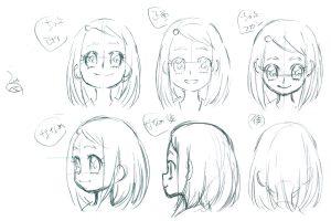 表情と顔の角度でキャラクターの感情と性格を表現する