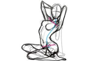 座りポーズの美しい曲線を描く方法