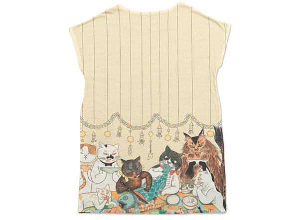 石黒亜矢子さんが描く猫たちが、オリジナルTシャツに。グラニフより7月31日発売