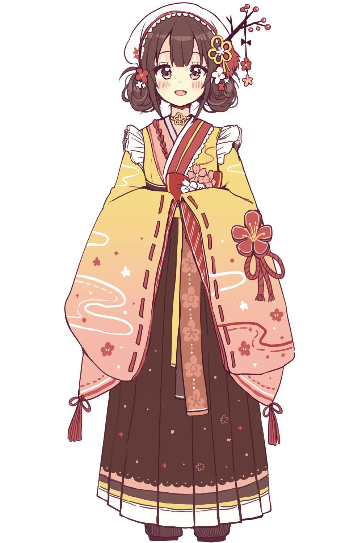 和風の服装とよく合うウメという花 メルヘンファンタジーな女の子