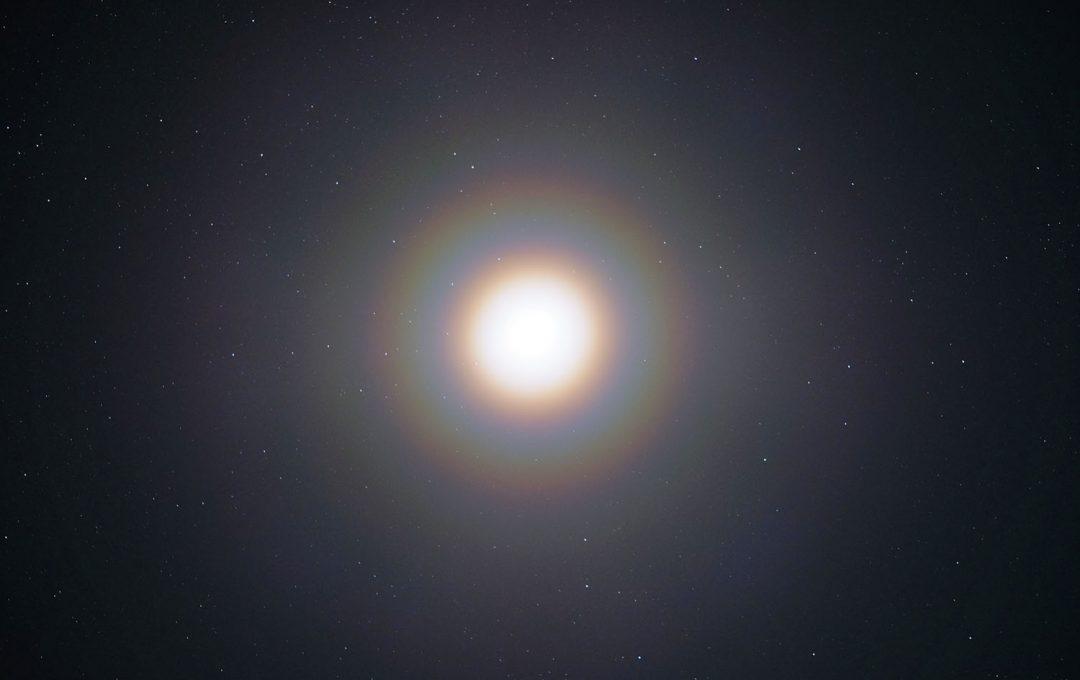 アレルギーに負けずに美しい光を捉える!強烈な光と大量の粒子が生み出す「花粉光環」