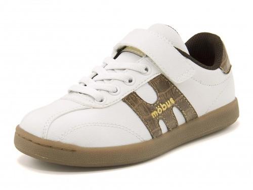 キッズ mobus(モーブス) MUNSTER JUNIOR(ミュンスタージュニア) M1-0002P-1070CR ホワイト/ブラウンクロコ運動靴 スニーカー ボーイズ