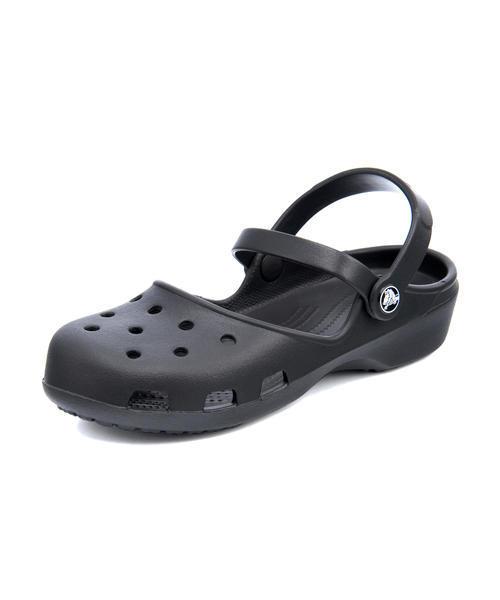 crocs(クロックス) KARIN CLOG W レディースサンダル(カリンクロッグウィメン) 202494 001 ブラック ローヒール(-3.5cm)