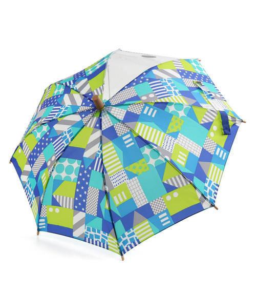 Ampersand アンパサンド キッズ 幾何学柄傘【透明窓付き】 L162020 ミント その他/ 雑貨など 傘・レインコート