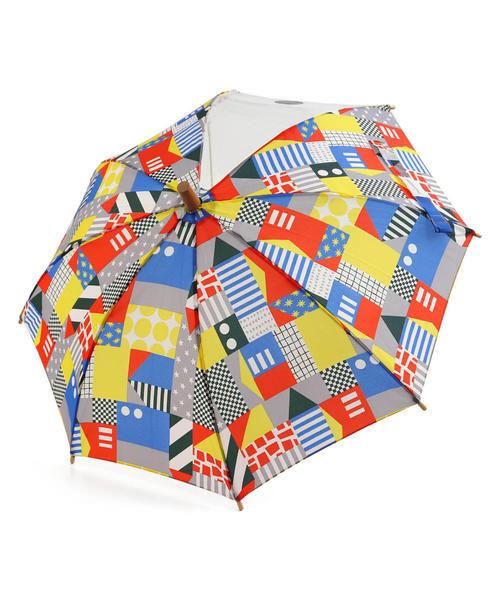Ampersand アンパサンド キッズ 幾何学柄傘【透明窓付き】 L162020 レッド その他/ 雑貨など 傘・レインコート