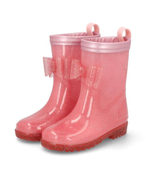 Ampersand アンパサンド キッズ リボン付きラメレインシューズ L164040 ピンク ブーツ ガールズ