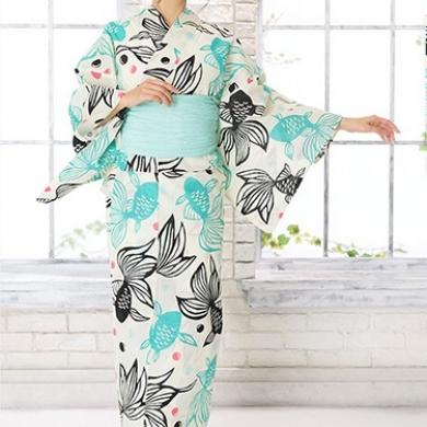 ◆金魚柄の浴衣(ミント帯)