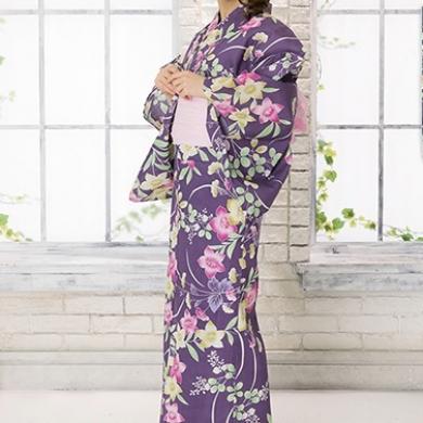 ◆秋草柄浴衣(ベビーピンク帯)