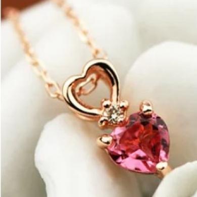 ◆10月誕生石ピンクトルマリンハートネックレス