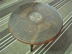 K様 木彫りの丸テーブルの天板