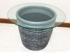 A様 陶器にガラスを置いてサイドテーブルにリメイク