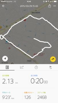 B-Trainer Runningアプリのランニング履歴表示画面
