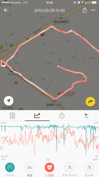 走行ペースや心拍数などの記録を走行ルートの地図にオーバーラップして表示できる