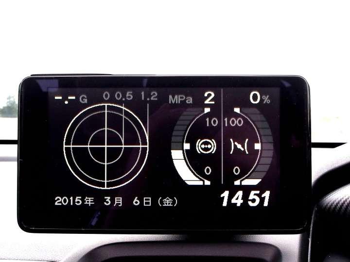 センターディスプレイにはスマートフォンナビのほか、Gメーター(写真)やアナログ時計なども表示可能