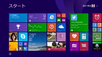 Windows 8.1のスタート画面(パソコンのWindowsキーを押したところ)。様々なアプリや機能がタイル上に並ぶ「モダンUI」を採用している。Windows 7までを使っていた人には、あまりにも不親切なデザインだった