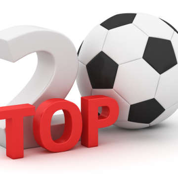 Top 20 with soccer ball on white background