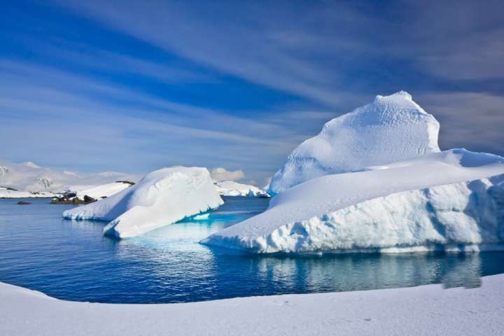 Beautifull big antarctic iceberg in the snow
