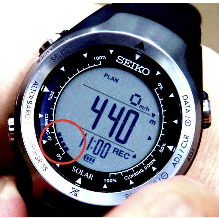 筑波山の男体山登山コースは思いのほかハードだが、標高表示が勢いよく上がっていくのを見ていると力が沸いてくる。この時点で登山開始20分、標高は440m。もう少しで半分だ