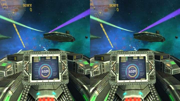 【BotsNew Wars】地球防衛隊のエースパイロットととなり、飛来する敵機を迎撃するシューティングゲーム。両手のコントローラーで自機のバルカン砲を操作する。