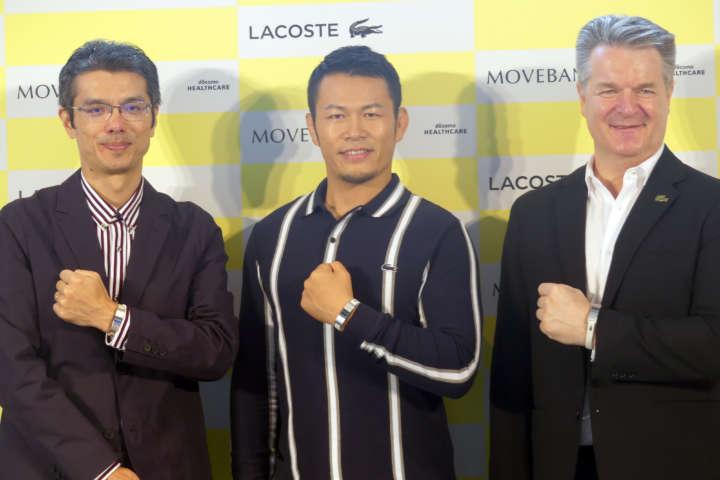 左からドコモ・ヘルスケア株式会社 代表取締役社長・和泉正幸氏、須藤元気氏、株式会社ラコステジャパン代表取締役社長ディーター・ハーベル氏。