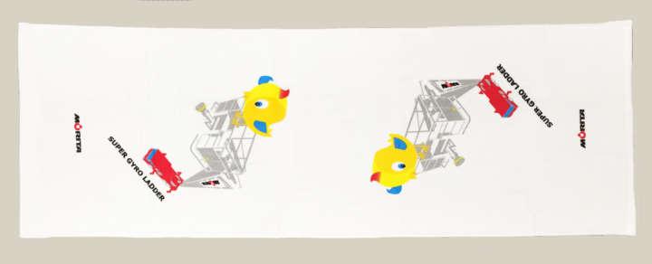 (実物)スポーツタオル(はしご車と小鳥)全体画像