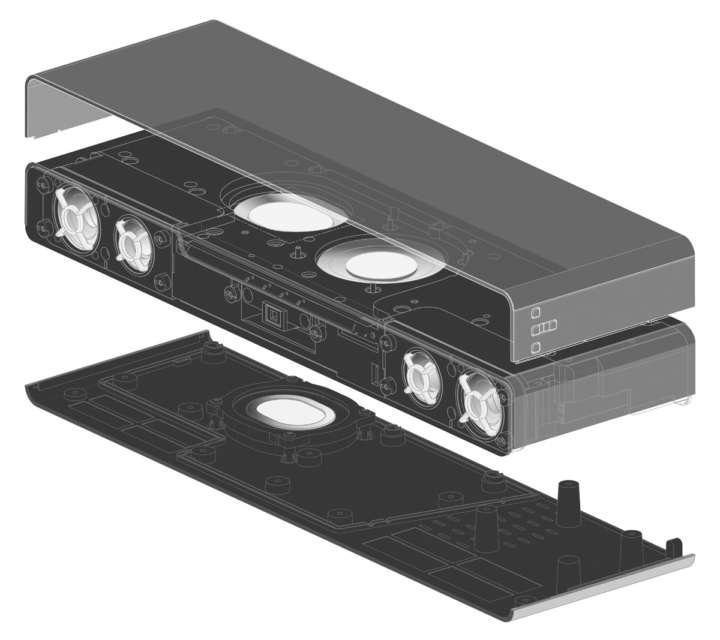 ▲ハイレゾ対応ツイーターと左右2基のフルレンジスピーカー、上向きサブウーハーを、小型ボディに効率よく納めている
