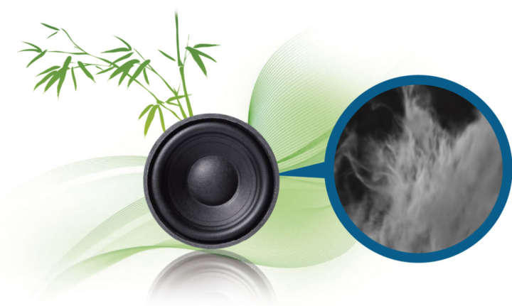 ▲スピーカーコーンには、ナノサイズに微細化した竹繊維を使用。剛性が高くて反発性に優れ、繊細な音から力強い音まで、美しくキレのあるサウンドを再現する