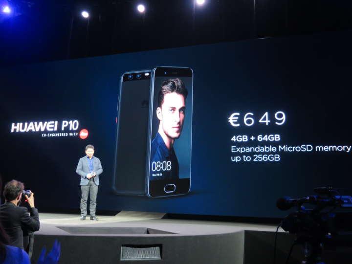 HUAWEI P10は4GBメモリ搭載で、649ユーロ