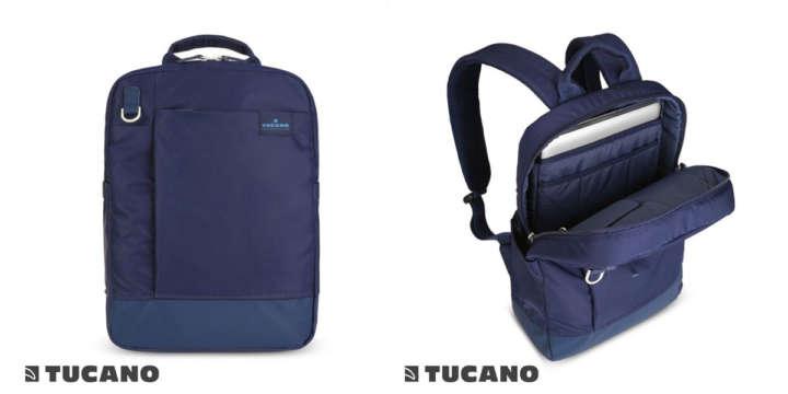 ▲「TUCANO AGIO リュック/バックパック」(1万5768円)カラー:ブルー、ブラック サイズ:27×39×11.5cm ポケットが多く多機能なリュック。背面上部にはキャリーバッグのハンドルを通せるキャリーサポーター付き。13インチのノートPCを収納可能。