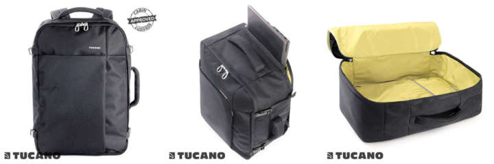 ▲「TUCANO TUGO LARGE(ツカーノ ツゴ ラージ) リュックサック/バックパック」(1万9440円)カラー:ブルー、ブラック、カーキ サイズ:35×55×20cm 最大容量38リットルの大型バックパック。機内持ち込みサイズ。ファスナーは南京錠を付けられるようになっている。また衝撃吸収パッド入りで、耐水素材を使用。ノートPCは17.3インチまで収納可能。