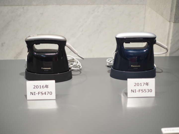 ▲従来品(写真左)よりも新商品ではハンドル持ち手部分を約6㎜太くし、電源スイッチをハンドル部から背面にすることで持ちやすさと使いやすさを向上させています